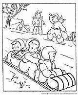 Coloring Winter Pages Activities Seasons Sledding Outdoor Toboggan Season Sheets Activity Printable Honkingdonkey sketch template