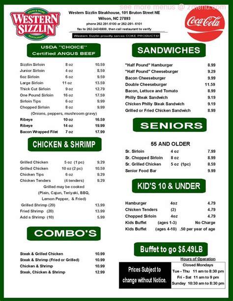 menu  western sizzlin restaurant wilson north