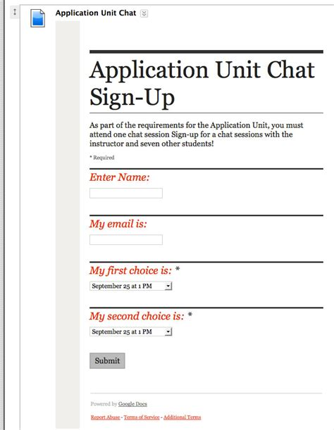 google forms sign up sign up sheet using google forms