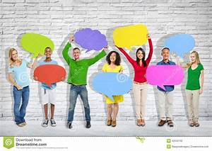 Group Of Mixed Age And Race People With Colorful Thoughts ...