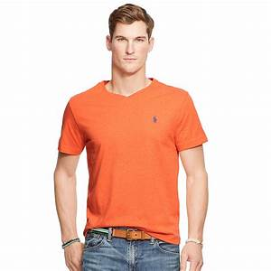 Polo V : polo ralph lauren cotton jersey v neck t shirt in orange for men lyst ~ Gottalentnigeria.com Avis de Voitures