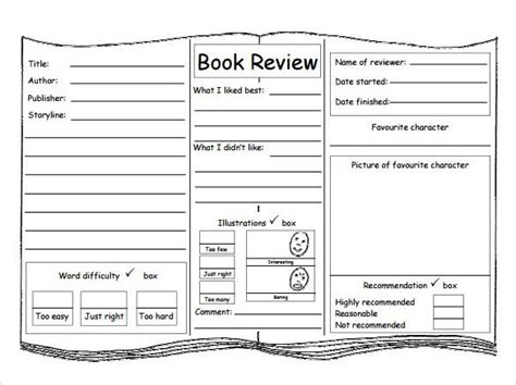 book review template by chriswat teaching resources