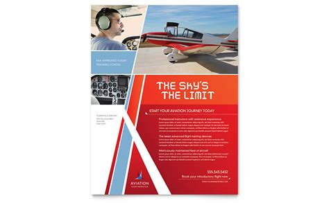 aviation flight instructor flyer template word publisher