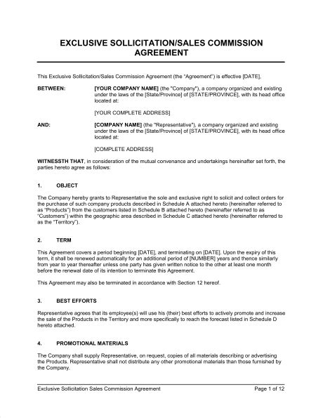 Commission Split Agreement Between Agents Template by Exclusive Sollicitation Sales Commission Agreement