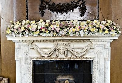 wedding flowers  fireplace mantel  wedding