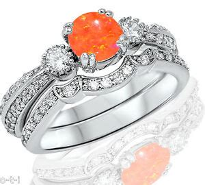 mexican orange opal genuine sterling silver engagement ring