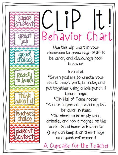 Clip It! Behavior Chart  A Cupcake For The Teacher
