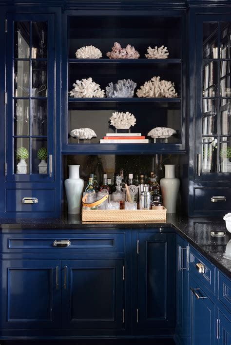 high gloss blue butlers pantry