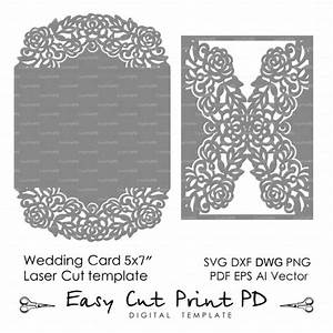 wedding invitation pattern card 57 template roses lace With laser cut wedding invitations dxf