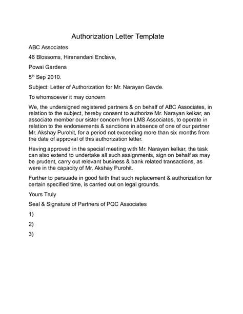 authorization letter format