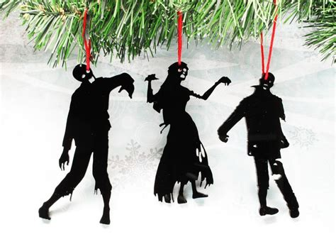 Zombie Silhouette Christmas Ornaments, Set Of Three, Black