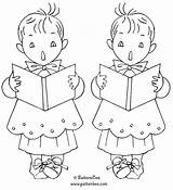 Christmas Embroidery Coloring Patterns Pages Choir Boys Designs Patternbee Christian Hand Choirboy Info sketch template