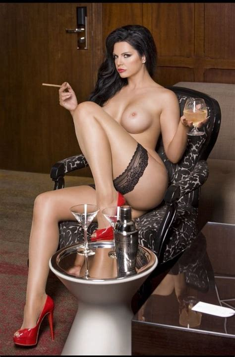 Sexy Nude Brunette Smoking Drinking Wine Hotsexypicsilike