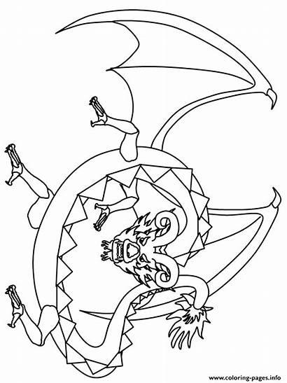Dragon Coloring Pages Cartoon Scary Fantasy Printable