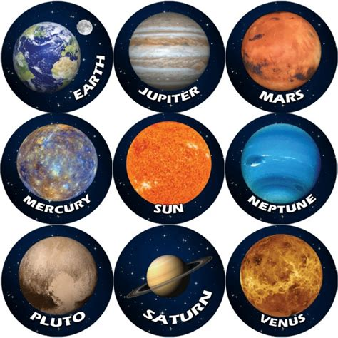 Solar System Planets Teacher Reward Stickers Large