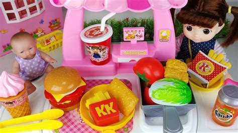Baby Doll Kitchen Hamburger Shop And Cooking Surprise Eggs