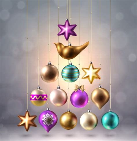 shapes christmas baubles vector  vector