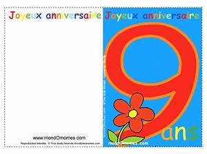 Invitation Anniversaire Fille 9 Ans : carte anniversaire fille 9 ans gratuite imprimer mes ~ Melissatoandfro.com Idées de Décoration