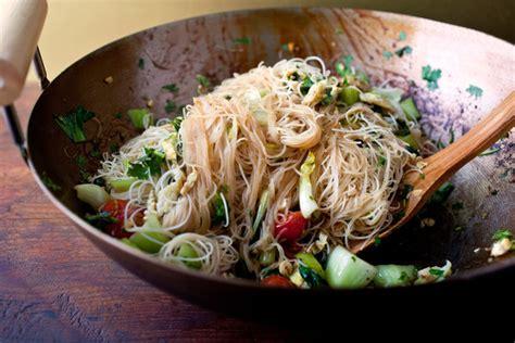 stir fried rice stick noodles  bok choy  cherry