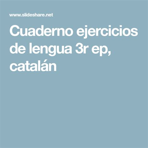 foto de Cuaderno ejercicios de lengua 3r ep catalán Education