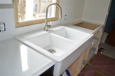 top mount farmhouse sink ikea ordering installing quartz countertops from menards