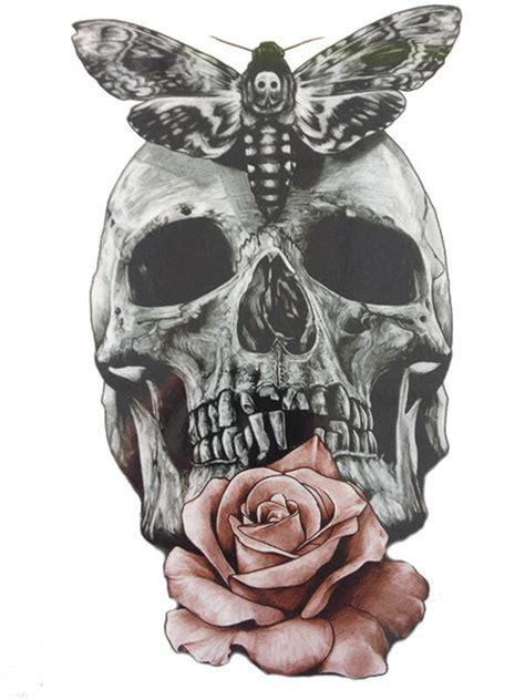 tatouage temporaire tete de mort papillon  rose kolawi