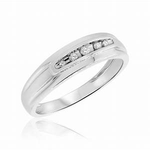 18 CT TW Diamond Mens Wedding Band 10K White Gold