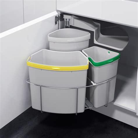 poubelle meuble cuisine poubelle tri s 233 lectif pivotante 3 bacs 39 litres