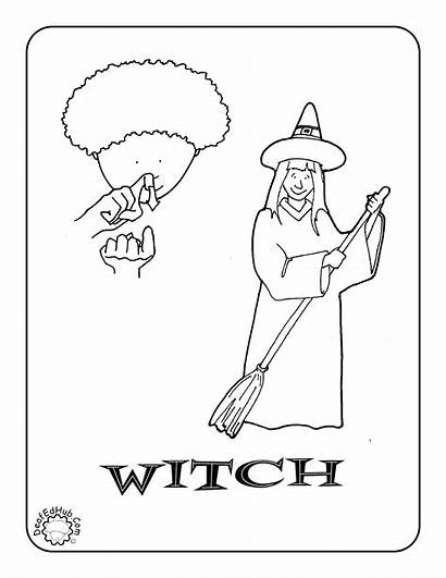 Coloring Pages Language Sign Asl Halloween Witch