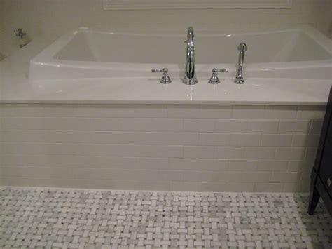 basketweave subway marble basketweave floor tile powder room traditional with