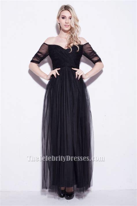 celebrity inspired black   shoulder evening prom