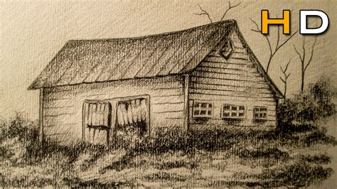 How To Draw A Barn by How To Draw A Landscape With Pencil Step By Step Barn In