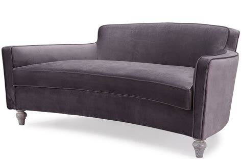 Curved Loveseat by Horchow Style Gray Velvet Mid Century Glam Curved Sofa