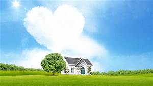 Heart shaped cloud over a house wallpaper #7221