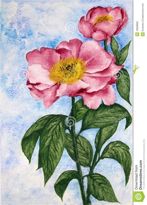 bloemen in afwasmiddel en water fotograferen het schilderen van de waterverf van twee bloemen van de