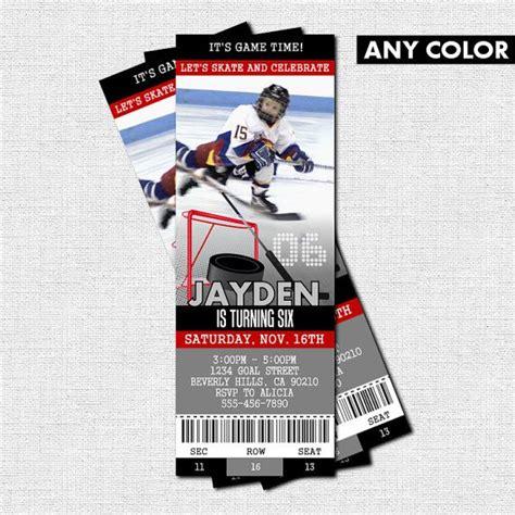 hockey thank you card template hockey ticket invitations skate birthday bonus