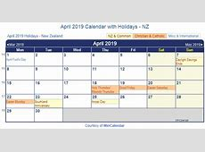Print Friendly April 2019 New Zealand Calendar for printing