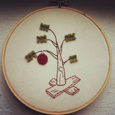 charlie brown christmas tree embroidered gift stitchnsift