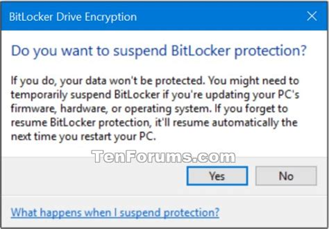 suspend and resume bitlocker suspend or resume bitlocker protection for drive in windows 10 security system tutorials