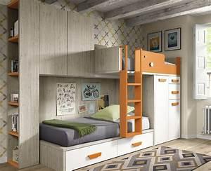Lit Superposé Ado : lit superpos ado avec tiroirs armoire et bureau amovible ~ Farleysfitness.com Idées de Décoration