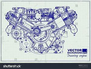 Drawing Old Engine On Graph Paper Stock Vector 158490725