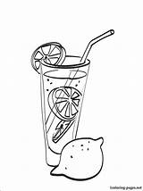 Lemonade Coloring Pages Sketch Pitcher Stand Drawing Printable Cup Drinks Drink Template sketch template