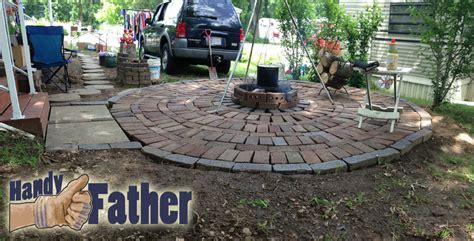 diy brick patio walkway pit handy
