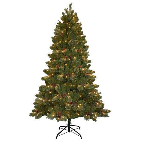 home depot live christmas trees for sale national tree company 7 5 ft cone and berry decorated artificial tree with