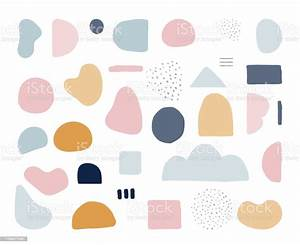 modern trendy abstract shapes in pastel colors
