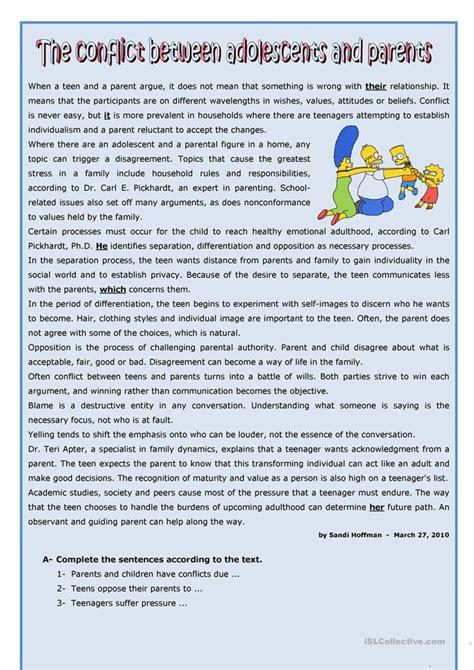 conflicts  teens  parents worksheet  esl