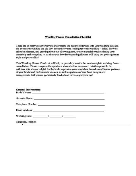 wedding flower consultation checklist template