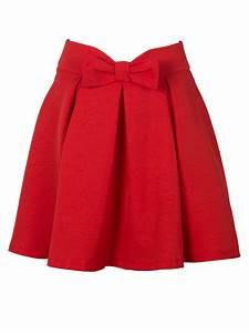 Red Bowknot Waist Pleat Detail Skater Skirt Choies