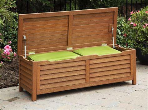 oak storage bench patio cement patio