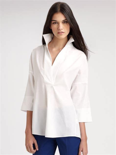 white cotton blouse akris punto cotton tunic blouse in white lyst